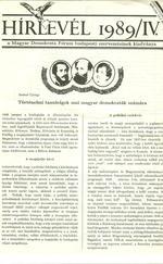 Hírlevél 1989/IV. - különkiadvány